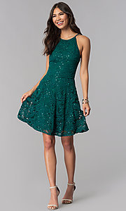 Image of short lace homecoming a-line dress. Style: EM-DPS-3822-304 Detail Image 3