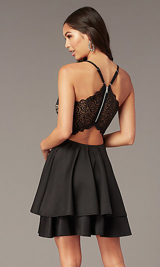 Tiered-Skirt Lace-Bodice Homecoming Party Dress