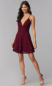 Image of tiered short lace homecoming v-neck dress. Style: EM-FQP-3831-550 Detail Image 3
