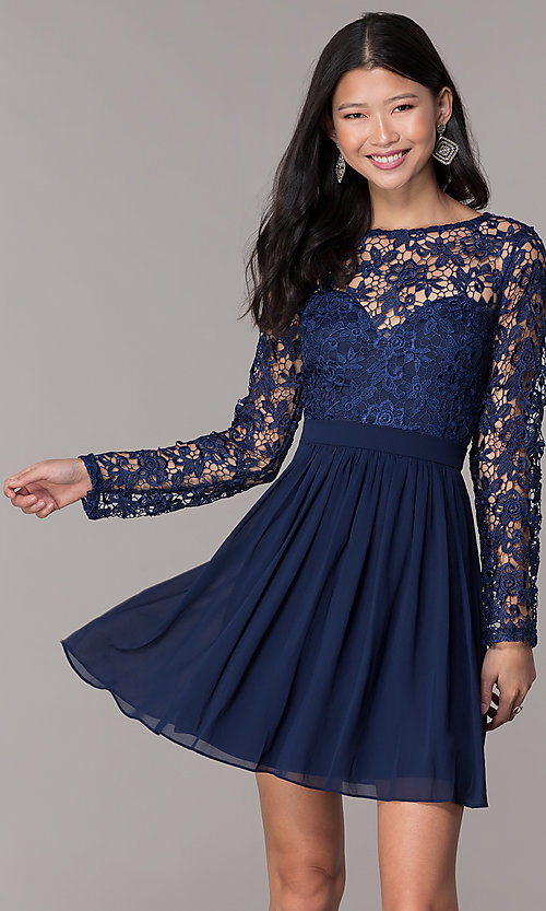 Navy Lace-Bodice Long-Sleeve Hoco Dress by PromGirl