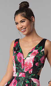 Image of floral-print v-neck JVN by Jovani homecoming dress. Style: JO-JVN-JVN65166 Detail Image 2