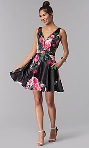 Image of floral-print v-neck JVN by Jovani homecoming dress. Style: JO-JVN-JVN65166 Detail Image 3