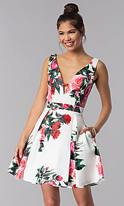 Image of floral-print v-neck JVN by Jovani homecoming dress. Style: JO-JVN-JVN65166 Front Image