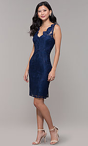 Image of navy blue short lace v-neck sheath party dress. Style: LP-25707 Detail Image 3