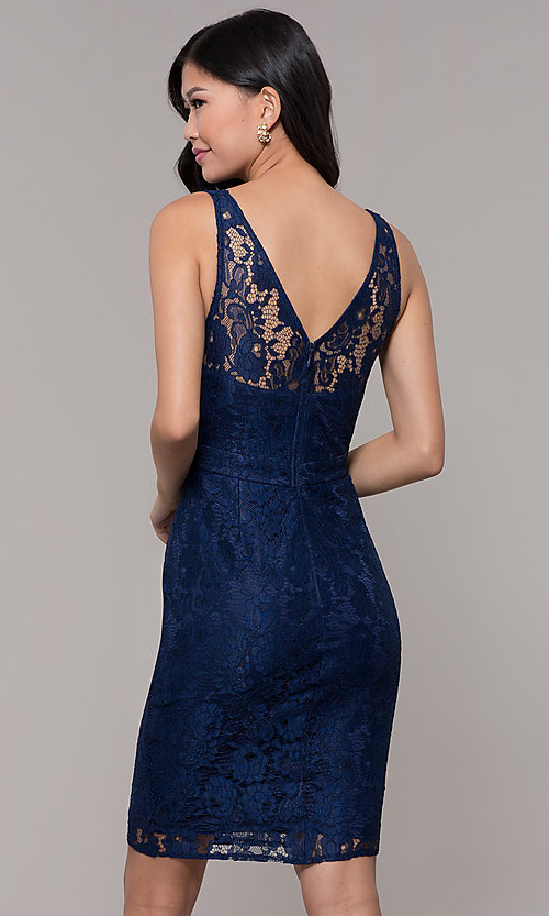 Image of navy blue short lace v-neck sheath party dress. Style: LP-25707 Back Image