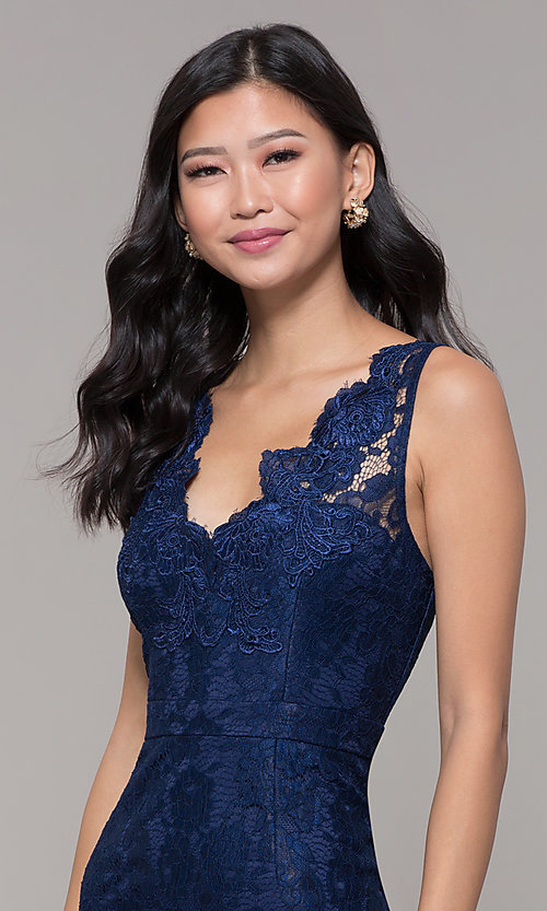 Image of navy blue short lace v-neck sheath party dress. Style: LP-25707 Detail Image 1