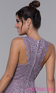 Image of short lilac purple lace racerback party dress. Style: CT-3616PX1AT1 Detail Image 2