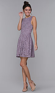 Image of short lilac purple lace racerback party dress. Style: CT-3616PX1AT1 Detail Image 3