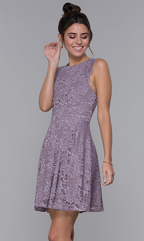 Image of short lilac purple lace racerback party dress. Style: CT-3616PX1AT1 Front Image