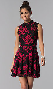 Image of short floral-lace-appliqued party dress. Style: CT-3551PV9LT1 Front Image