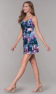 Image of short lilac floral-print v-neck party dress. Style: EM-FLU-3817-540 Detail Image 3