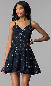 Image of short a-line sequin-lace homecoming dress. Style: SS-D71161HJL Front Image