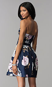 Image of strapless floral-print homecoming dress. Style: SS-D71312QY3 Back Image