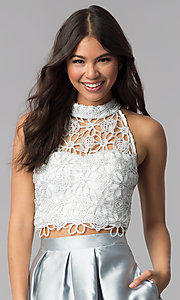 Image of embroidered-lace-top two-piece homecoming dress. Style: SS-X91582J659 Detail Image 1