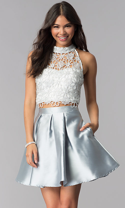 Image of embroidered-lace-top two-piece homecoming dress. Style: SS-X91582J659 Front Image