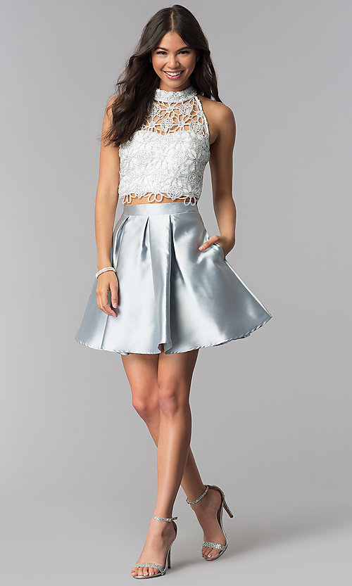 Image of embroidered-lace-top two-piece homecoming dress. Style: SS-X91582J659 Detail Image 3