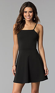 Image of short a-line graduation dress with back tie. Style: CH-3075 Detail Image 3