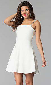 Image of short a-line graduation dress with back tie. Style: CH-3075 Front Image