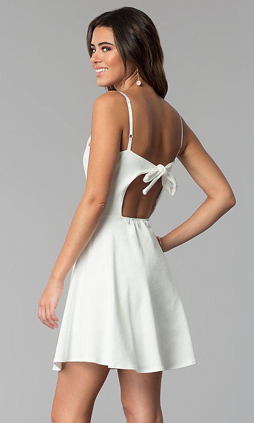 Image of short a-line graduation dress with back tie. Style: CH-3075 Back Image