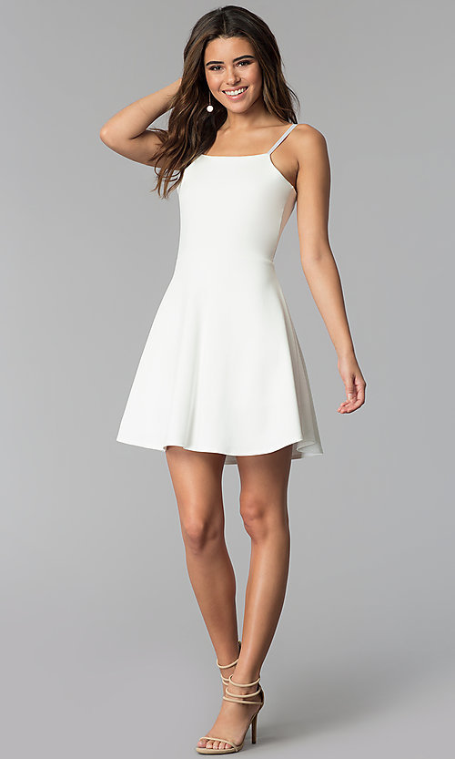 Image of short a-line graduation dress with back tie. Style: CH-3075 Detail Image 2
