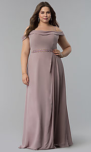 Image of off-the-shoulder long cowl-back plus prom dress. Style: FB-GL1522P Front Image