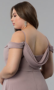 Image of off-the-shoulder long cowl-back plus prom dress. Style: FB-GL1522P Detail Image 2