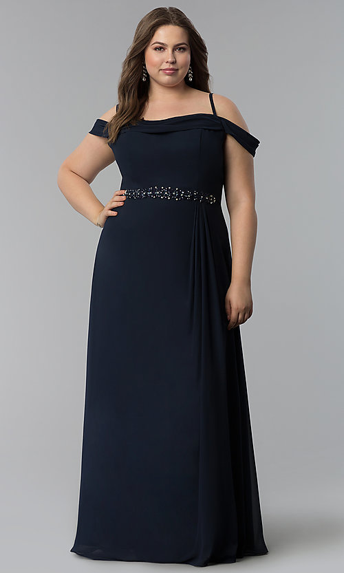 Image of off-the-shoulder long cowl-back plus prom dress. Style: FB-GL1522P Detail Image 3