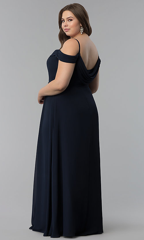 Image of off-the-shoulder long cowl-back plus prom dress. Style: FB-GL1522P Detail Image 4
