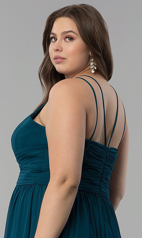 Image of high-neck ruched-waist long plus-size prom dress. Style: FB-GL1524P Detail Image 2