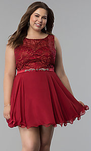 Image of plus-size semi-formal lace-bodice dress. Style: FB-GS2314P Front Image
