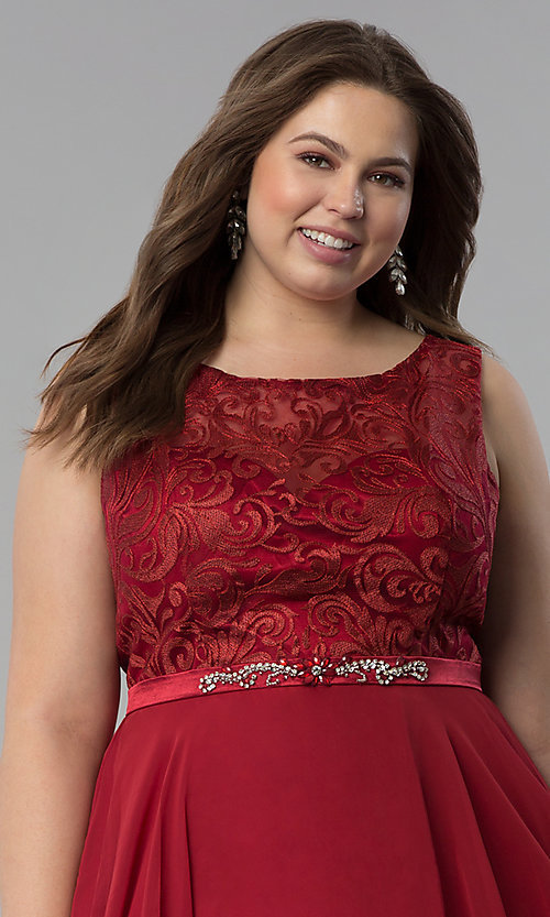Image of plus-size semi-formal lace-bodice dress. Style: FB-GS2314P Detail Image 1