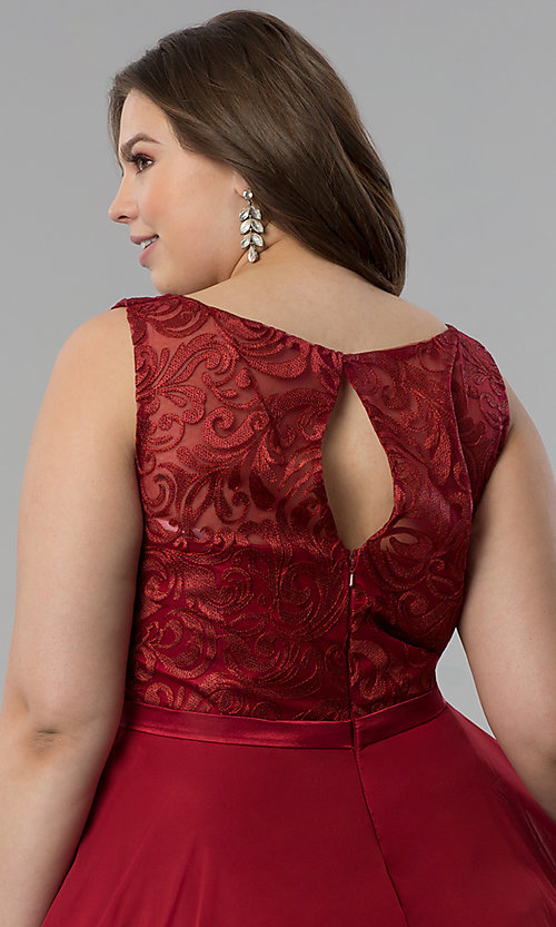 Image of plus-size semi-formal lace-bodice dress. Style: FB-GS2314P Detail Image 2