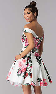 Image of off-shoulder print JVN by Jovani short party dress. Style: JO-JVN-JVN65429 Back Image