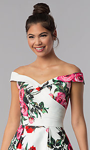 Image of off-shoulder print JVN by Jovani short party dress. Style: JO-JVN-JVN65429 Detail Image 1