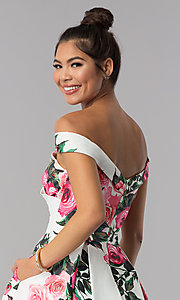 Image of off-shoulder print JVN by Jovani short party dress. Style: JO-JVN-JVN65429 Detail Image 2