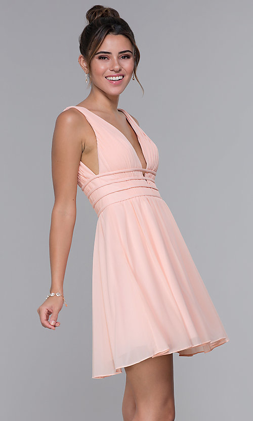 Image of JVNX by Jovani short chiffon homecoming dress. Style: JO-JVNX66469 Back Image