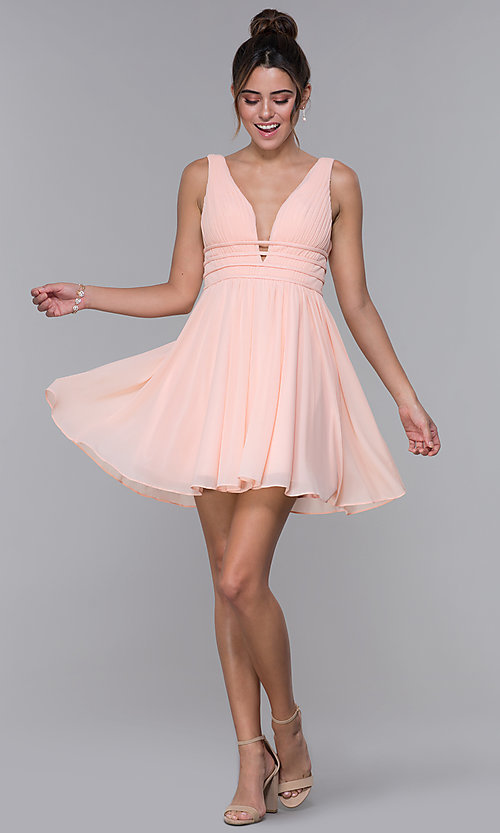 Image of JVNX by Jovani short chiffon homecoming dress. Style: JO-JVNX66469 Detail Image 3