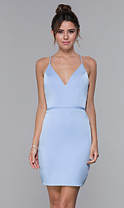 Image of short JVNX by Jovani light blue homecoming dress. Style: JO-JVNX66630 Front Image