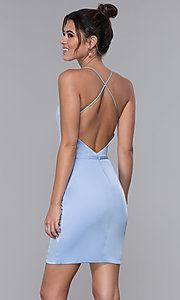 Image of short JVNX by Jovani light blue homecoming dress. Style: JO-JVNX66630 Back Image