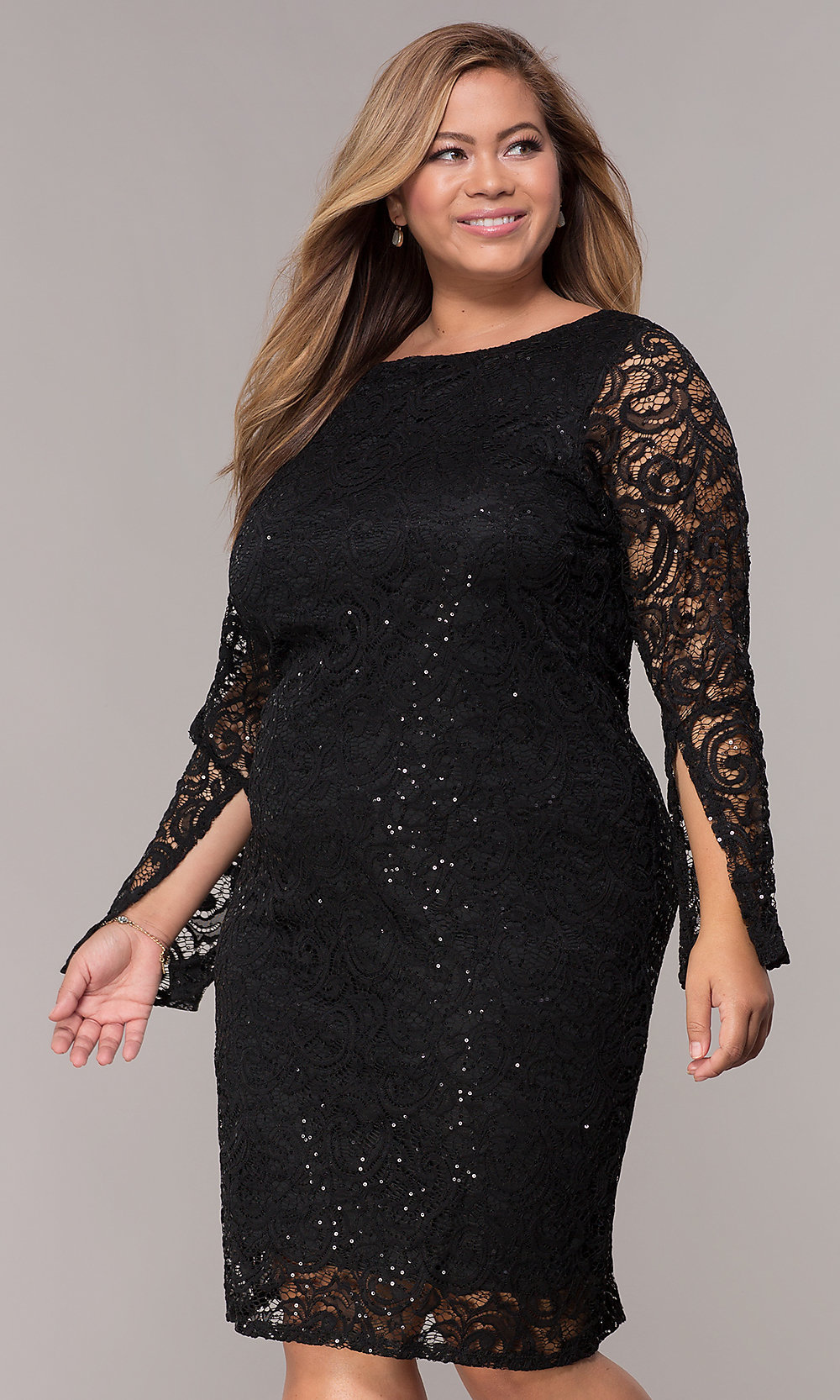 Plus-Size Long-Sleeve Sequin-Lace Party Dress-PromGirl