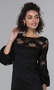 Image of short 3/4-sleeve black lace wedding-guest dress. Style: JU-TI-t1717 Detail Image 1
