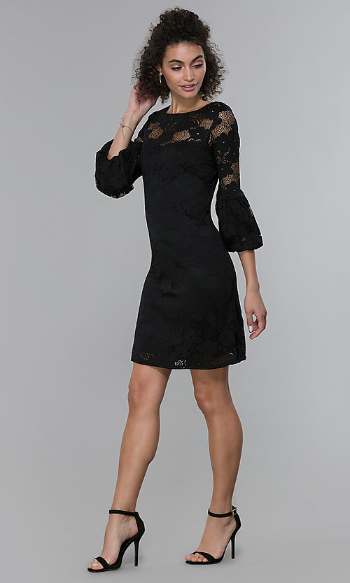 Image of short 3/4-sleeve black lace wedding-guest dress. Style: JU-TI-t1717 Detail Image 3