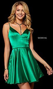 Image of fit-and-flare Sherri Hill silk homecoming dress. Style: SH-52253 Front Image