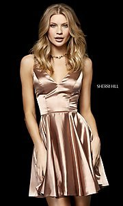 Image of fit-and-flare Sherri Hill silk homecoming dress. Style: SH-52253 Detail Image 1