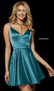 Image of fit-and-flare Sherri Hill silk homecoming dress. Style: SH-52253 Detail Image 2