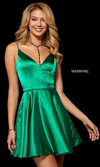 Fit-and-Flare Sherri Hill Silk Homecoming Dress