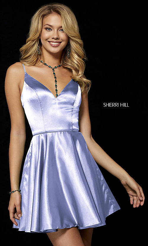 Image of fit-and-flare Sherri Hill silk homecoming dress. Style: SH-52253 Detail Image 3