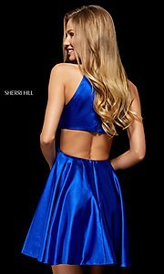 Image of high-neck homecoming dress with back cut out. Style: SH-52254 Back Image