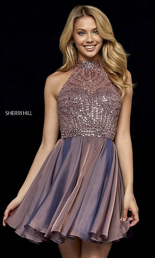 Image of fit-and-flare Sherri Hill hoco dress with beading. Style: SH-52281 Front Image