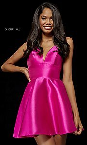 Image of short mikado homecoming dress by Sherri Hill. Style: SH-52379 Detail Image 3